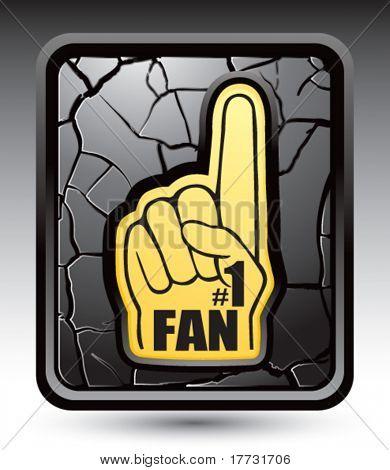 fan hand black cracked web button