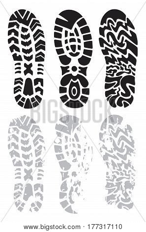 collection of prints of shoes vector illustration