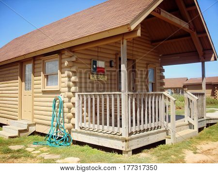 Quintana beach Texas - July 30 2010: One of the cabin in a 51-acre beachfront park located on the upper Texas gulf coast only 1 hour from Downtown Houston.