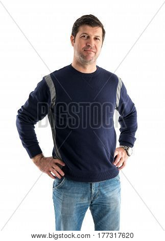 Casual dressed man isolated on white background