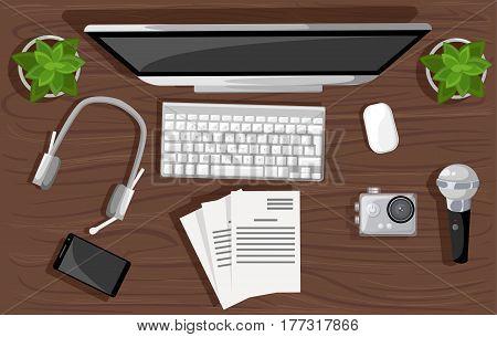 Concept For Website Banners Man Blogger Video Computer. Concept Blogging. Digital Blog. Flat Design