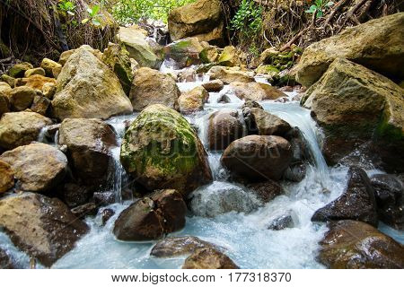 rocky stream on the island of dominica