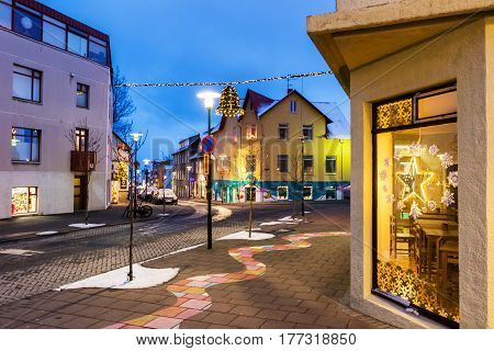 Streets In Reykjavik At Christmas Time, Iceland