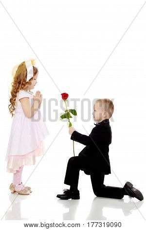 Little boy in black suit with bow tie gives a big red rose charming little girl.Isolated on white background.