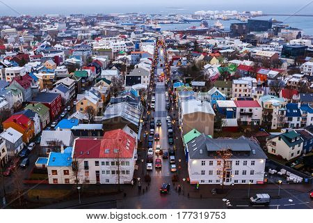 View Of Old Town From Top Of Church Tower At Dusk, Reykjavik