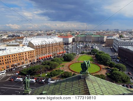 St. Petersburg Russia - 13/07/2016: panorama from the top St. Petersburg Petersburg Isaac's Square view of the house of the Legislative Assembly