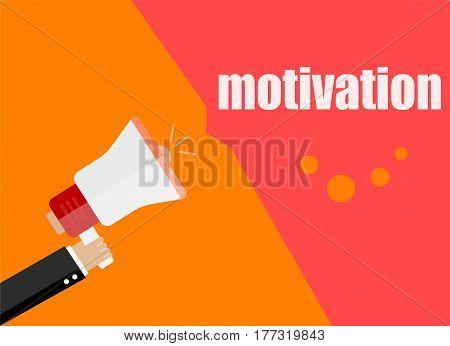 Motivation. Flat Design Business Concept Digital Marketing Business Man Holding Megaphone For Websit