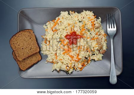 the a plate of pilaf on top