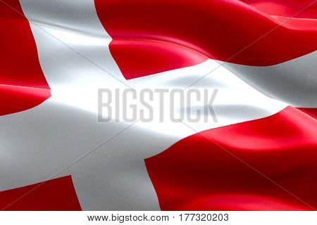 Closeup Of Illustration Waving Dannebrog Denmark Flag, With Red Background And White Cross, National