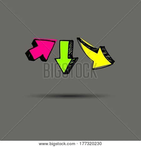 Sketch arrow collection for your design. vector arrows on a gray background. Set of different vector arrows