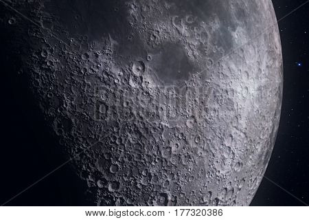 Moon Phases With Light Motion Of Moon Surface With Crater On Starlight Background, Universe And Scie