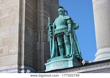 BUDAPEST, HUNGARY - AUGUST 08, 2012: Sculpture of John Hunyadi (Margo Ede 1906). Millennium Monument on the Heroes Square. Hunyadi was a leading Hungarian military in Europe during the 15th century.