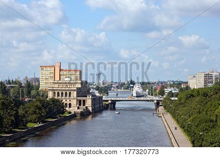 View to the Pregel river and formerly Konigsberg Stock Exchange building (now is marine cultural centre) in Kaliningrad Russia (formerly Konigsberg Germany).