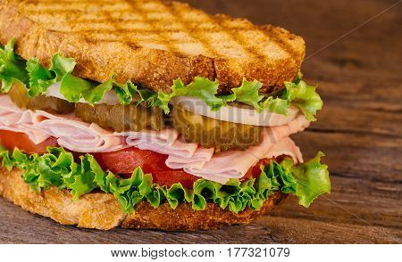 Homemade Turkey Sandwich With Lettuce Tomato Onion