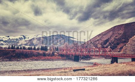 Red Bridge In Rocky Mountains, Colorado, Usa.
