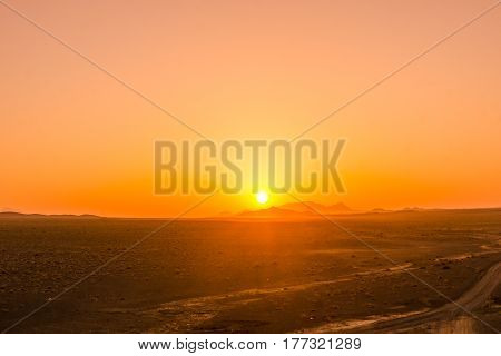 sunrise in the desert of Iran from caravanserei