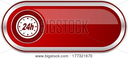 24h red long glossy silver metallic banner. Modern design web icon for smartphone applications