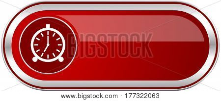 Alarm red long glossy silver metallic banner. Modern design web icon for smartphone applications