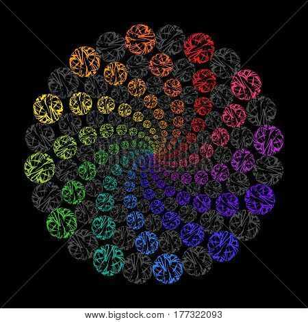 Rainbow Circular Decorative Ornament on Black Background. Stylized Mandala from Colored Lace Circles.