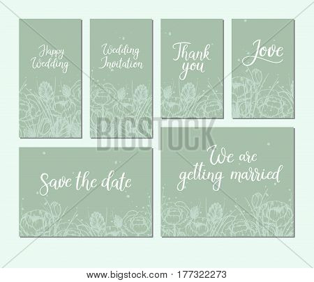 Set of wedding cards. Modern calligraphy. Hand lettering inscription. Vector illustration. Floral frame. Save the date. Wedding theme