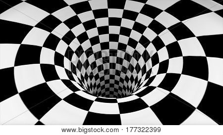 Checkered Black And White Texture In Perspective