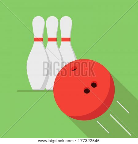 The bowling ball is moving toward the pin. Play of bowling. Icon or banner for the game club