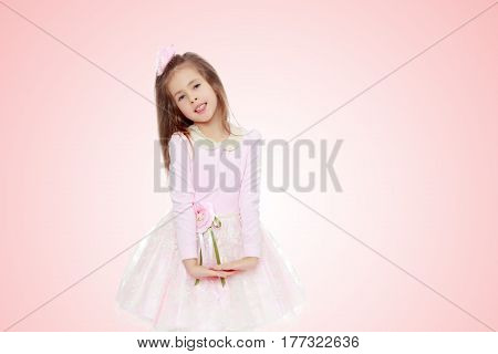 Dressy little girl long blonde hair, beautiful pink dress and a rose in her hair.She folded their hands in front of him.Pale pink gradient background.