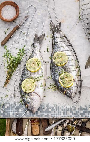 Freshly Caught Whole Sea Bream For Grill In The Garden