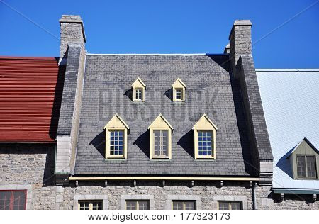 Detail of Roof of Historic Quebec House, Quebec City, Quebec,Canada.