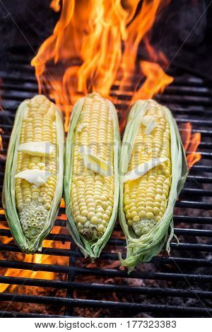 Hot Corncob On Grill With Butter And Salt