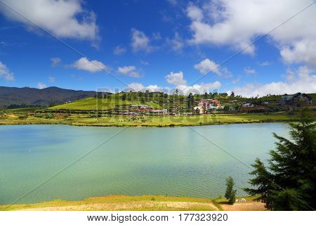 landscape with Gregory lake in Nuwara Eliya - Sri Lanka