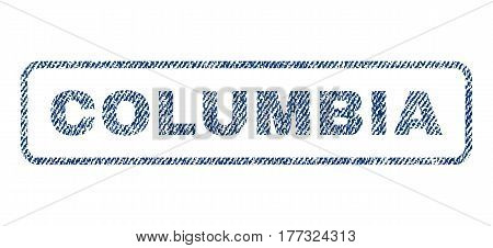Columbia text textile seal stamp watermark. Blue jeans fabric vectorized texture. Vector tag inside rounded rectangular shape. Rubber emblem with fiber textile structure.
