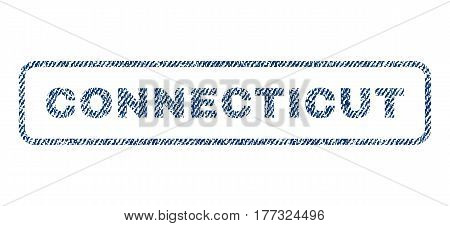 Connecticut text textile seal stamp watermark. Blue jeans fabric vectorized texture. Vector caption inside rounded rectangular banner. Rubber sticker with fiber textile structure.