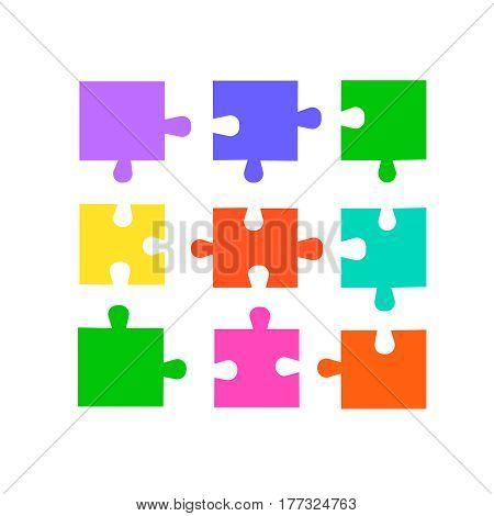 Puzzle pieces set . Colored vector puzzles for design