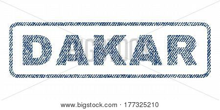 Dakar text textile seal stamp watermark. Blue jeans fabric vectorized texture. Vector tag inside rounded rectangular banner. Rubber emblem with fiber textile structure.