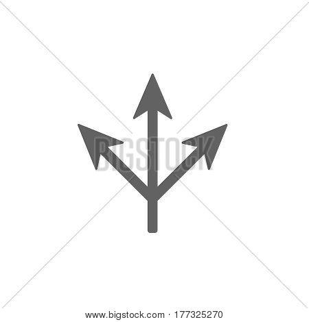 three way icon . Arrow separated on three