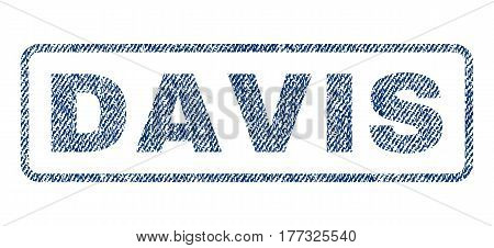 Davis text textile seal stamp watermark. Blue jeans fabric vectorized texture. Vector caption inside rounded rectangular banner. Rubber sign with fiber textile structure.
