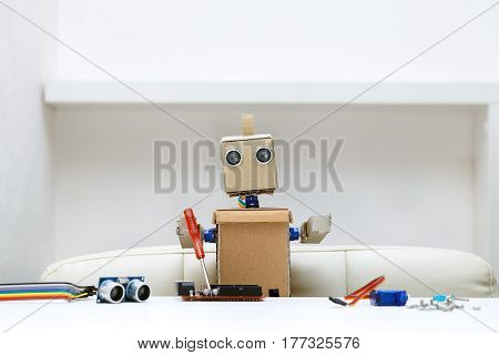 The robot holds a red screwdriver in its hands and collects from the details of another robot