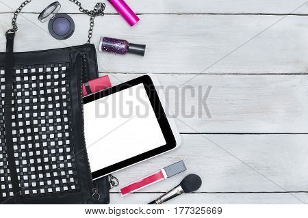 styled feminine desktop - woman fashion flat lay items on wooden background copy space