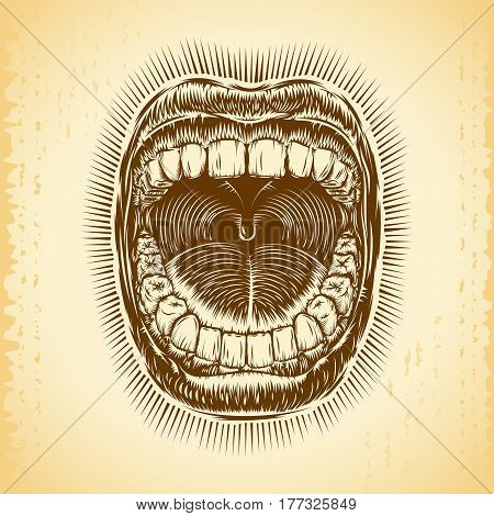 Open mouth with teeth; Screaming shouting singing yawning mouth of woman or man; Jaw drop; T-shirt print design from vintage tribal tattoo in ink hand drawing style; Vector monochrome background Eps8