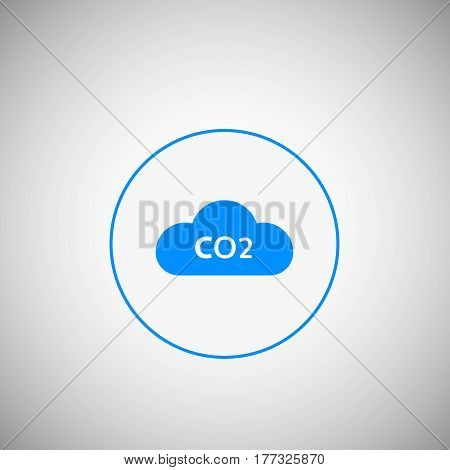 CO2 emissions icon CO2 cloud in flat design