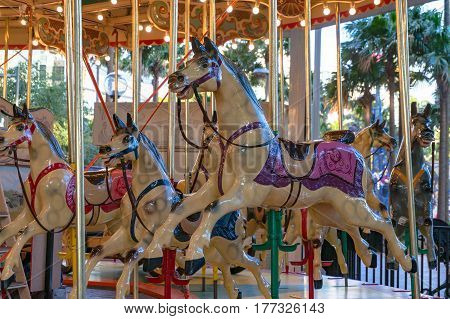 Sydney, Australia - August 4, 2013: Merry-go-round, carousel in Darling Harbour