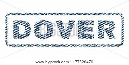 Dover text textile seal stamp watermark. Blue jeans fabric vectorized texture. Vector tag inside rounded rectangular shape. Rubber emblem with fiber textile structure.