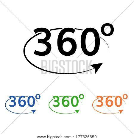360 angle rotate icon . curved line with rotation angle