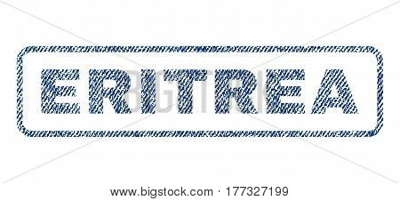 Eritrea text textile seal stamp watermark. Blue jeans fabric vectorized texture. Vector tag inside rounded rectangular shape. Rubber sign with fiber textile structure.
