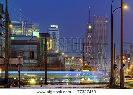 Financial district of Warsaw a capital of Poland