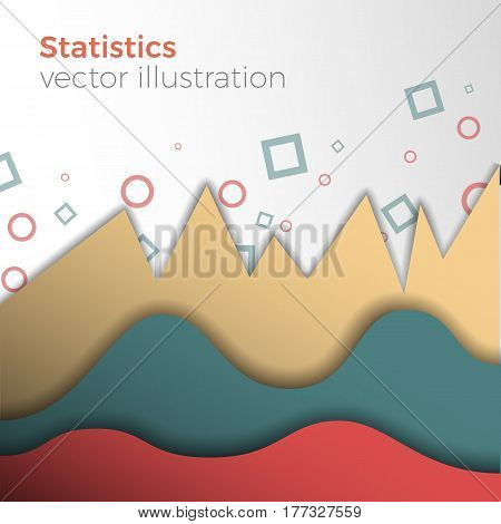 Analytical or statistical background. Vector abstract illustration of paper-like graphs. Stylish colors and mild shadows. Business chart with uptrend line graph.
