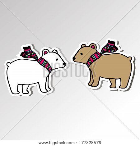 bear animal vector polar cartoon mammal arctic wild illustration scarf
