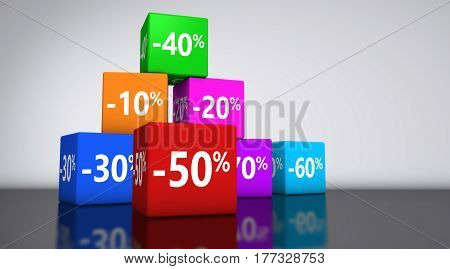 Shopping sale reduction discount and promo concept with colorful cubes and percentage sign 3D illustration backdrop.