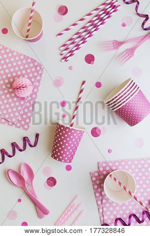 Pink party background overhead view